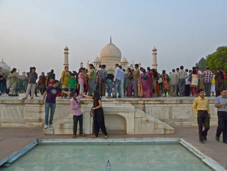 The gang's all here! Posing in front of the Taj Mahal in Agra, India.