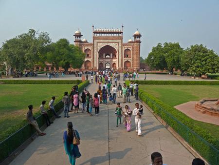Looking toward the Main Gate of the Taj Mahal in Agra, India.