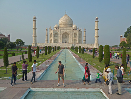 Another classic view of the Taj Mahal mausoleum in Agra, India.