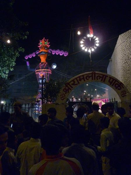 A 50-foot tall effigy of Ravana at a Dussehra festival in Paharganj, Delhi, India.