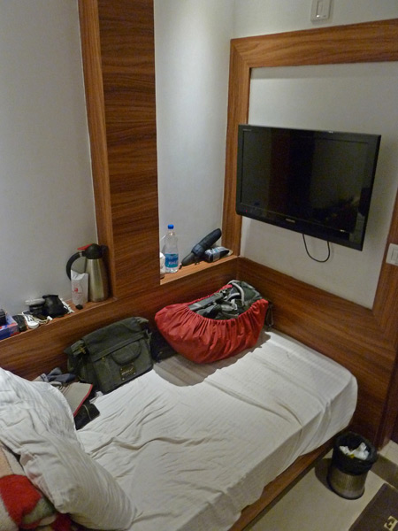 My dinky room at the Hotel Krishna in Paharganj, Delhi, India.