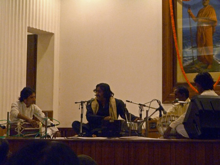 Janah Mir Mukhtiyar Ali performs at Ramakrishna Mission auditorium in Paharganj, Delhi, India.