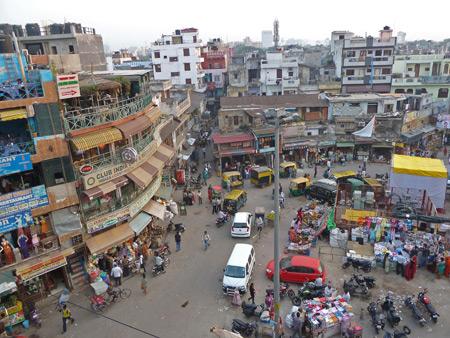 An overview of the Main Bazaar in Paharganj, Delhi, India.