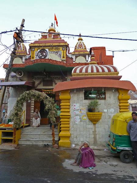 A miniature, color-splashed castle on Qutab Road in Paharganj, Delhi, India.