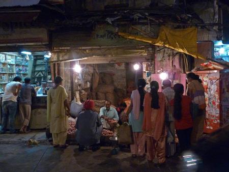 A potato shack in the Main Bazaar of Paharganj, Delhi, India.