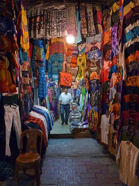 The stall where I bought my Kali t-shirt in the Main Bazaar area of Paharganj, Delhi, India.
