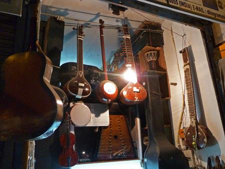 A musical instrument shop in the Main Bazaar of Paharganj, Delhi, India.