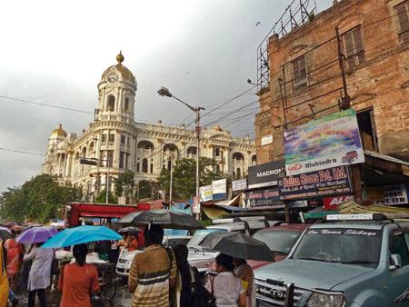 Looking North on Chowringhee Road near Lindsay Street in Kolkata, India.