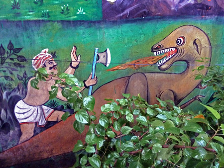 Since when did dinosaurs become part of Hinduism? Hanuman temple near Esplanade in Kolkata, India.