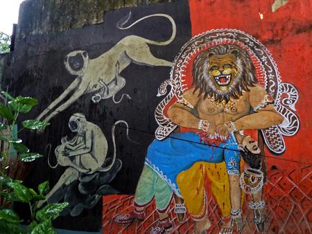 A gory mural on the grounds of the Hanuman Hindu temple near Esplanade in Kolkata, India.