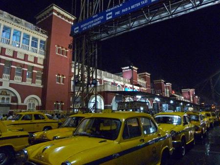 Howrah train station in Kolkata, India.