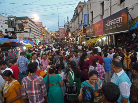 Just a small part of some intense shopping bustle near Lindsay Street in Kolkata, India.