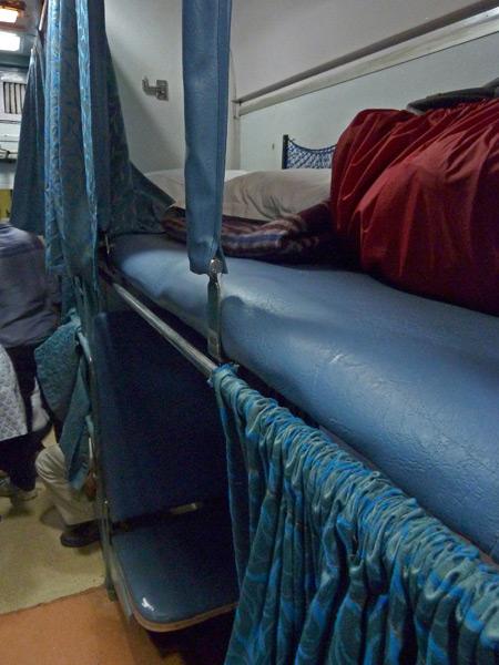 A three-tier air-con sleeper coach on the train in Kolkata, India.