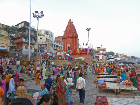 A late afternoon crowd gathers for Hindu ceremonies and just to relax at Dasaswamedh Ghat in Varanasi, India.