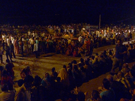 Part of the audience at the nightly Ganga Aarti ceremony at Dasaswamedh Ghat in Varanasi, India.