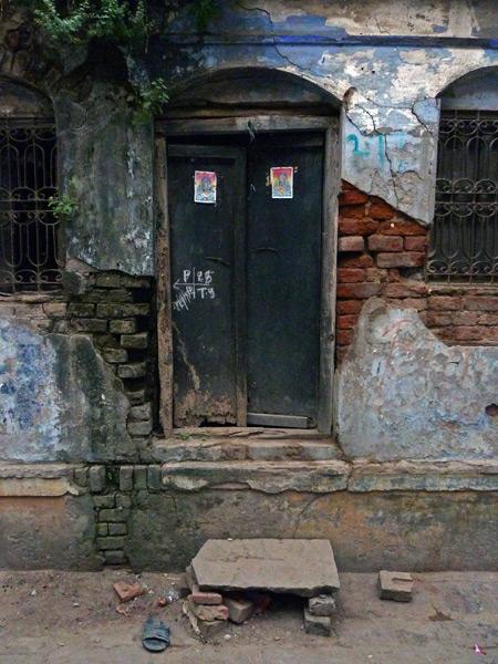 A distressed doorway in Varanasi, India.