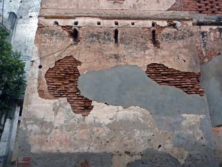 A beautifully weathered wall in the back lanes in Varanasi, India.