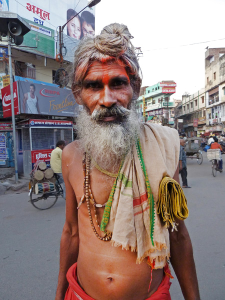 A fake Indian Sadhu on Chowk Godowlia Road in Varanasi, India.