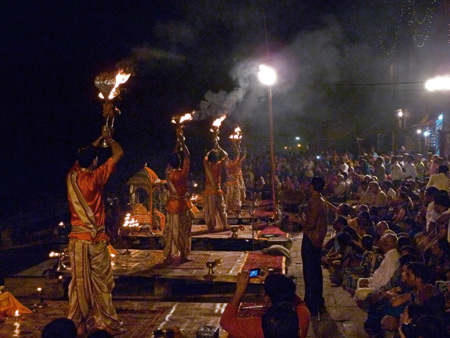 Playing with fire at the nightly Ganga Aarti ceremony at Dasaswamedh Ghat in Varanasi, India.