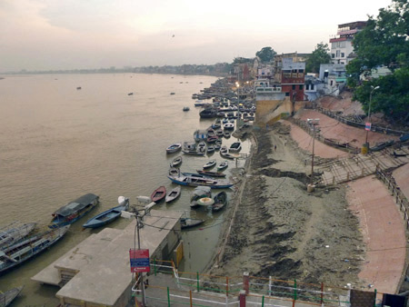 The Ganges river as seen from the Alka Hotel in Varanasi, India.