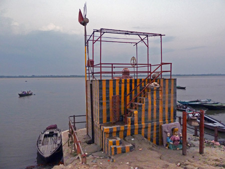 A Hindu shrine on the Ganges river in Varanasi, India.