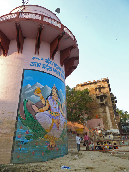 A Hindu mural at Meer Ghat in Varanasi, India.