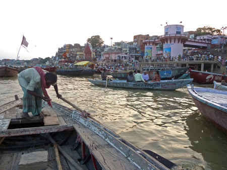 A rowboat cruise on the Ganges river in Varanasi, India.