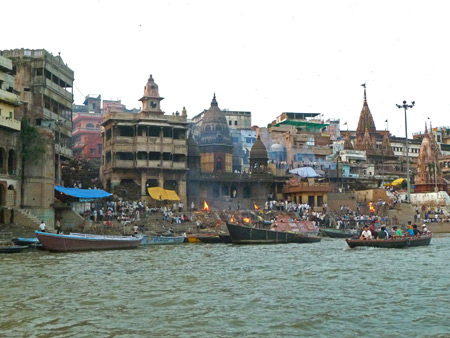 Manikarnika Ghat, the main burning ghat in Varanasi, India.