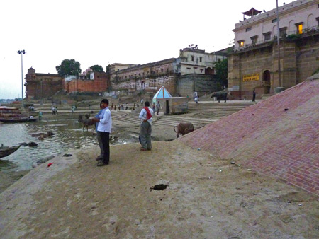 Looking toward Shivala Ghat in Varanasi, India.