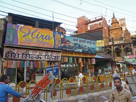 A silk store in Varanasi, India.