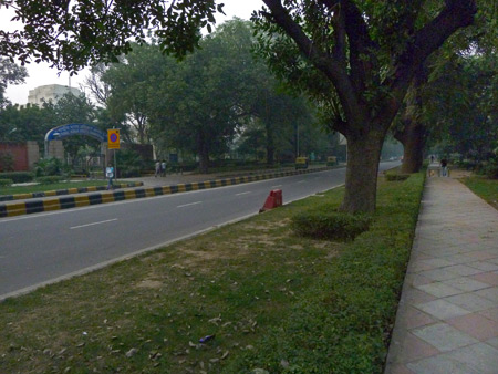 A relatively quiet avenue in a suburban area near India Gate in Central Delhi, India.