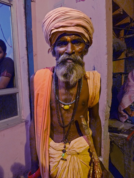 Another fake sadhu plies the back lanes of Paharganj, Delhi, India.