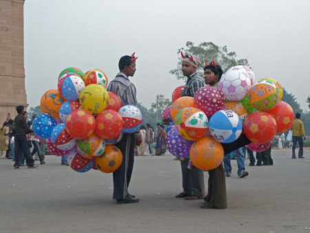 The Balloon Demons plan their next attack at India Gate in Central Delhi, India.