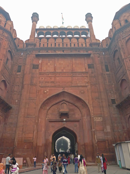 The main entrance to the Red Fort in Old Delhi, India.