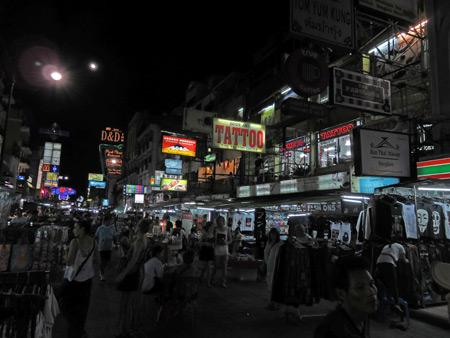 Thanon Khao San in Banglamphu, Bangkok, Thailand.