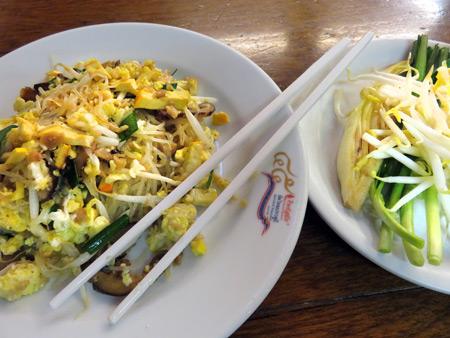 A plate of Pad Thai at Pad Thai Thip Samai in Phra Nakorn, Bangok, Thailand.