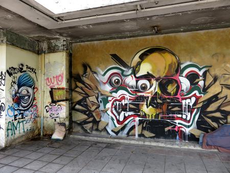 A wall mural on Thanon Ratchadamnoen Klang in Banglamphu, Bangkok, Thailand.