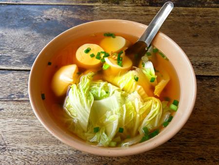 Tofu soup at Prachachon Khao Pat Pu in Banglamphu, Bangkok, Thailand.