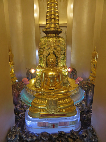 A Buddha image in the center of the Golden Mount in Phra Nakhon, Bangkok, Thailand.