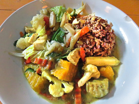 Curry fried vegetables and rice at May Kaidee's in Banglamphu, Bangkok, Thailand.