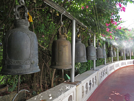 A collection of bells at the Golden Mount in Phra Nakhon, Bangkok, Thailand.