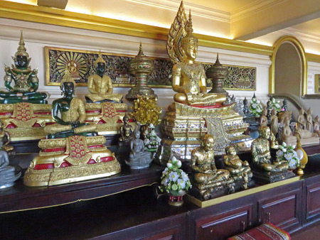 A collection of Buddha images at the Golden Mount in Phra Nakhon, Bangkok, Thailand.
