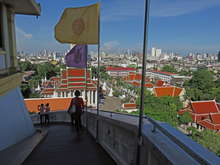A view of a small part of Bangkok from atop the Golden Mount in Phra Nakhon, Bangkok, Thailand.