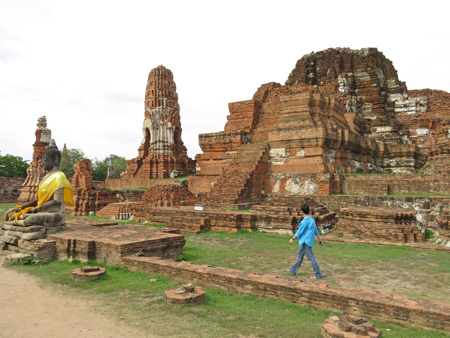 A grand overview of part of Wat Maha That in Ayutthaya, Thailand.