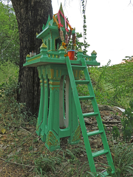 A Thai spirit house at Wat Khun Muang Chai in Ayutthaya, Thailand.