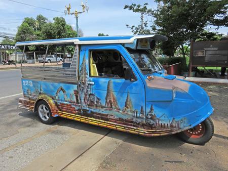 A funny tuk-tuk / songthaew hybrid at Wat Ratcha Burana in Ayutthaya, Thailand.