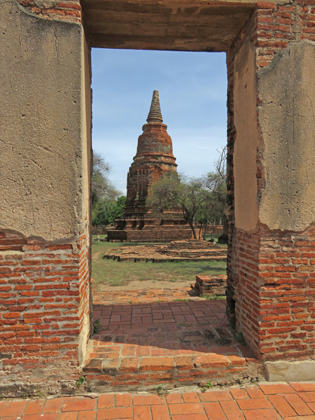 Out through the in door at Wat Ratcha Burana in Ayutthaya, Thailand.