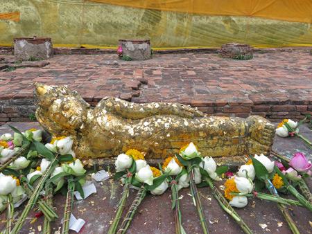 A smaller reclining Buddha at Wat Lokkayasutharam in Ayutthaya, Thailand.