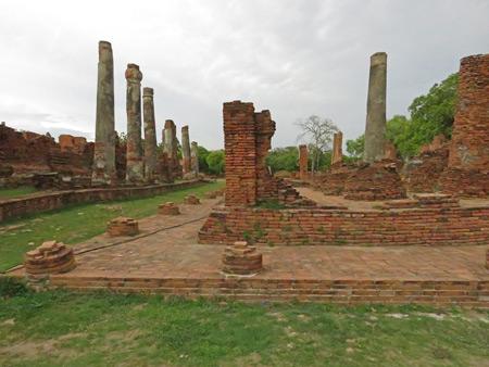 Crumbling ruins at Wat Phra Si Sanphet in Ayutthaya, Thailand.