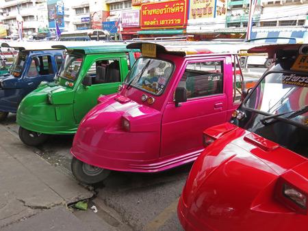 Tuk-tuk / songthaew hybrids in Ayutthaya, Thailand.